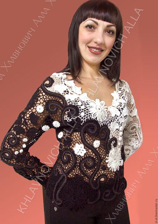 """Блузки ручной работы. Ярмарка Мастеров - ручная работа. Купить Блуза """"Бело черная фантазия"""" Модель №450. Handmade."""