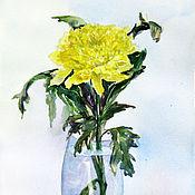 Картины и панно handmade. Livemaster - original item watercolor. flowers. Chrysanthemum yellow.. Handmade.