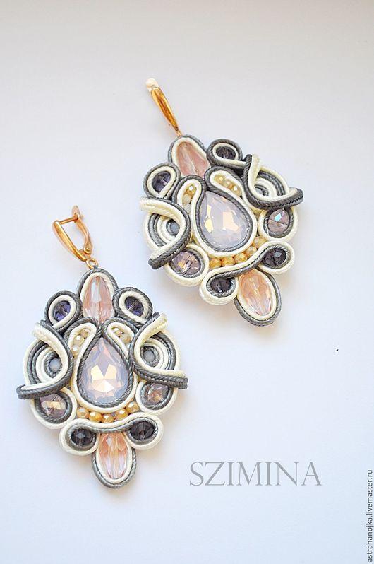 Earrings handmade. Livemaster - handmade. Buy Soutache earrings Beige.Beige, dairy earrings, gold plated earrings