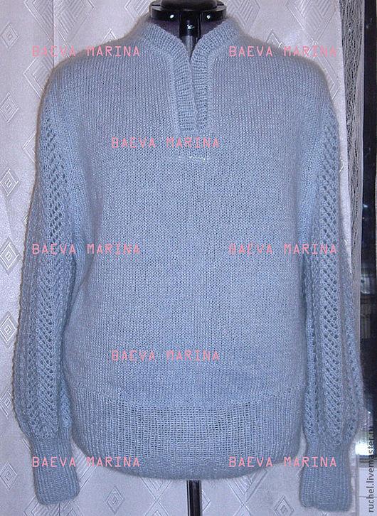 """Кофты и свитера ручной работы. Ярмарка Мастеров - ручная работа. Купить Джемпер женский """"Классика"""". Handmade. Голубой, джемпер женский"""