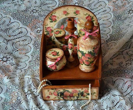 """Подарочные наборы ручной работы. Ярмарка Мастеров - ручная работа. Купить Набор для туалетного столика """"Розовый шик"""". Handmade. Декупаж"""