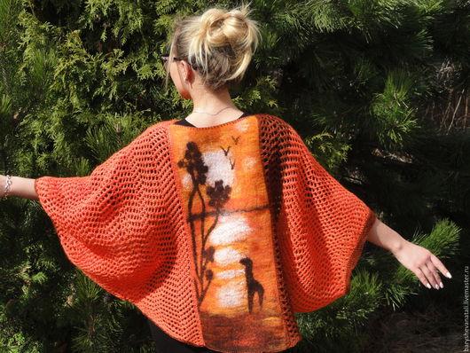 Пиджаки, жакеты ручной работы. Ярмарка Мастеров - ручная работа. Купить Кардиган Закат. Handmade. Рыжий, кардиган вязаный, коричневый