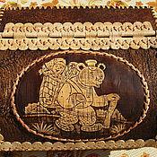 """Для дома и интерьера ручной работы. Ярмарка Мастеров - ручная работа Хлебница из бересты """"Маша и медведь"""". Handmade."""