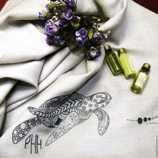 Текстиль, ковры ручной работы. Ярмарка Мастеров - ручная работа. Купить Льняное полотенце с машинной вышивкой «морские обитатели». Handmade.