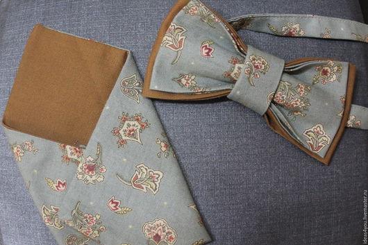 Комплект аксессуаров бабочка и платочек в карман пиджака
