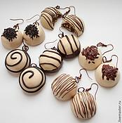 """Украшения ручной работы. Ярмарка Мастеров - ручная работа Серьги """"Вся в шоколаде. Белый шоколад"""". Handmade."""