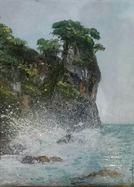 Пейзаж ручной работы. Ярмарка Мастеров - ручная работа. Купить У скалы. Воспоминания о море. Handmade. Комбинированный, море живопись