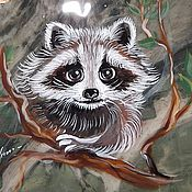 Сувениры и подарки handmade. Livemaster - original item Painted stone Magnet Jasper natural Raccoon Animals series. Handmade.