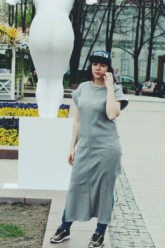 Платья ручной работы. Ярмарка Мастеров - ручная работа. Купить Трикотажное платье с ассиметричным низом. Handmade. Платье, одежда для женщин