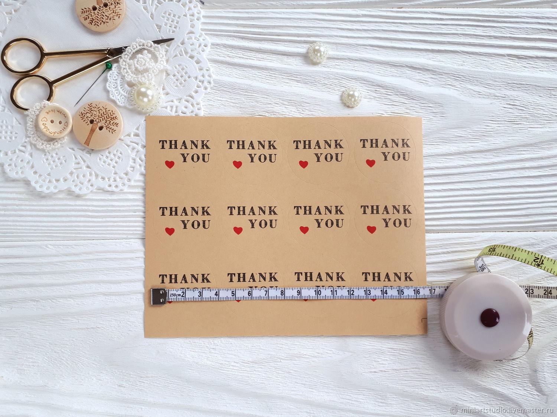 Круглые наклейки на упаковку, наклейки для декора Thank you, Упаковка, Дмитров, Фото №1