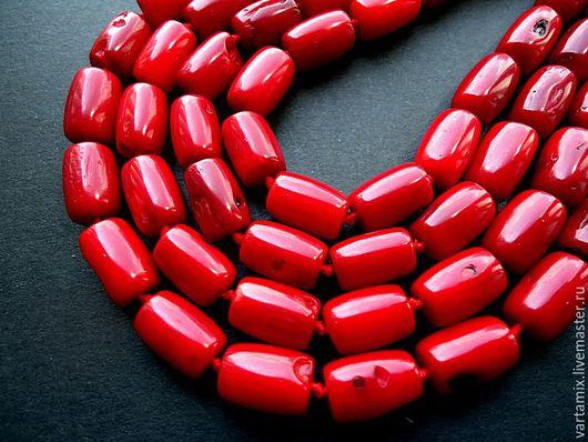 Для украшений ручной работы. Ярмарка Мастеров - ручная работа. Купить Коралл красный бусина цилиндр (трубочка) 7х10. Handmade.