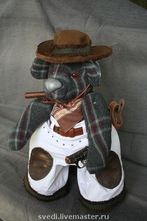 """Мишки Тедди ручной работы. Ярмарка Мастеров - ручная работа. Купить мишка""""Ковбой"""". Handmade. Медведь, серый, сигара, шляпа, пистолет"""