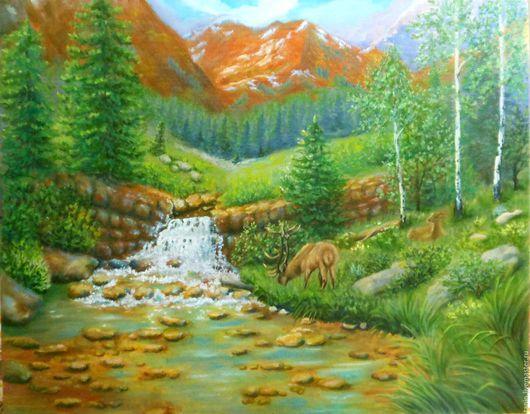 Пейзаж ручной работы. Ярмарка Мастеров - ручная работа. Купить Горный ручей. Handmade. Комбинированный, пейзаж, ручей, подарок, олень