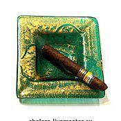 """Пепельницы ручной работы. Ярмарка Мастеров - ручная работа Пепельница """"Золото на зеленом"""". Handmade."""