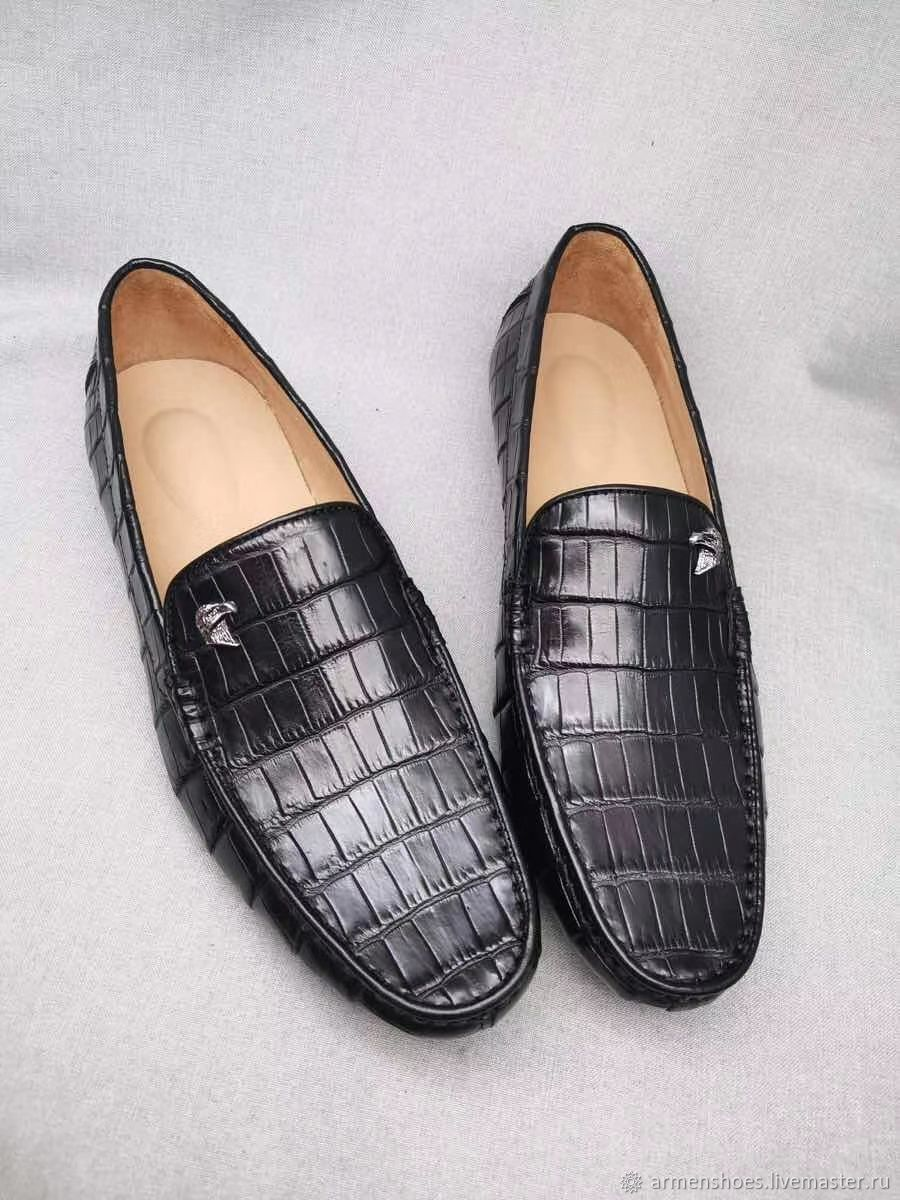 Moccasin mens crocodile leather, black color, under the order!, Moccasins, Tosno,  Фото №1