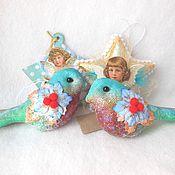 Подарки к праздникам ручной работы. Ярмарка Мастеров - ручная работа Набор ёлочных игрушек Ангелы-звезды и Синие птицы Снигири. Handmade.