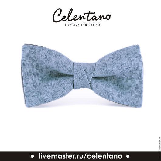 Галстуки, бабочки ручной работы. Ярмарка Мастеров - ручная работа. Купить Бабочка галстук Серо-голубые веточки / бабочка-галстук серо - голубая. Handmade.