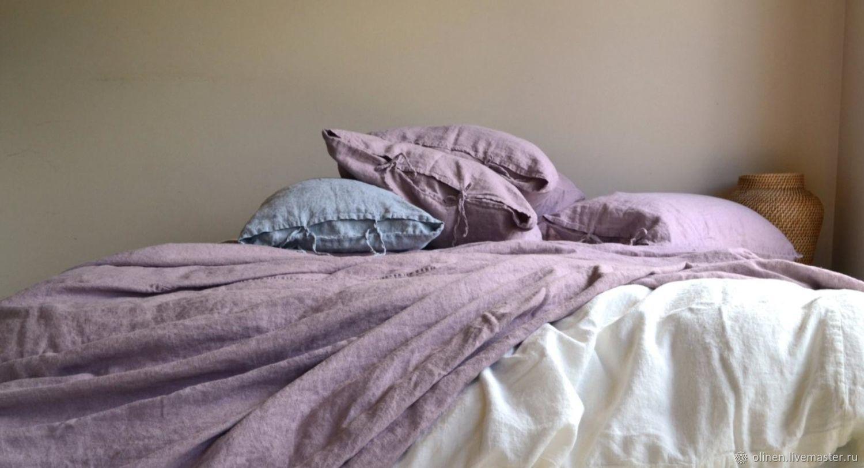 Текстиль, ковры ручной работы. Ярмарка Мастеров - ручная работа. Купить Черничные ночи льняное постельное белье. Handmade. Голубой