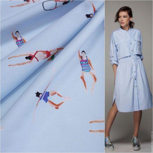 Шитье ручной работы. Ярмарка Мастеров - ручная работа. Купить Хлопок Dolce&Gabbana. Handmade. Голубой, платье на лето, хлопковая рубашка