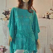 Одежда handmade. Livemaster - original item Poncho,44-54p., cotton-viscose.. Handmade.