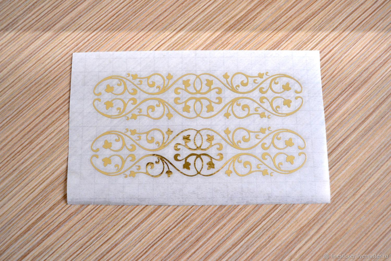 Золотой стикер № 1242. Золотые вензеля, Декор для декупажа и росписи, Орел,  Фото №1