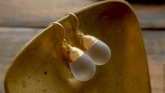 """Серьги ручной работы. Ярмарка Мастеров - ручная работа. Купить Крупные серьги-капли """"Диор"""", матовые. Handmade. Серьги"""