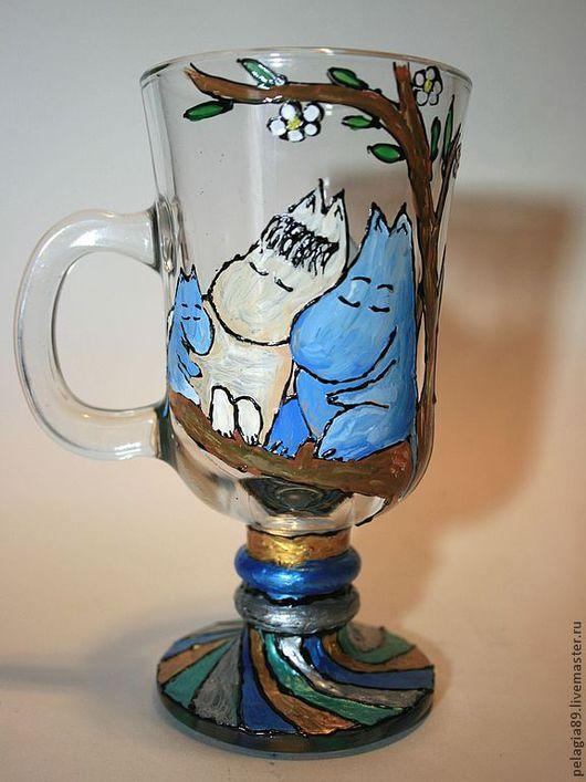 """Бокалы, стаканы ручной работы. Ярмарка Мастеров - ручная работа. Купить Бокал для глинтвейна """"Семейство Муми-Троллей"""". Handmade. Бокалы"""