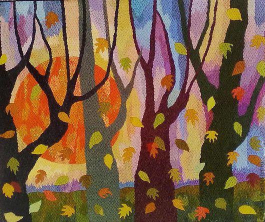 Пейзаж ручной работы. Ярмарка Мастеров - ручная работа. Купить Гобелен. Осенний вечер .. Handmade. Картины и панно, осень
