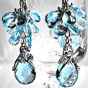 Серебряные серьги Нежное признание (Колье) с голубыми топазами