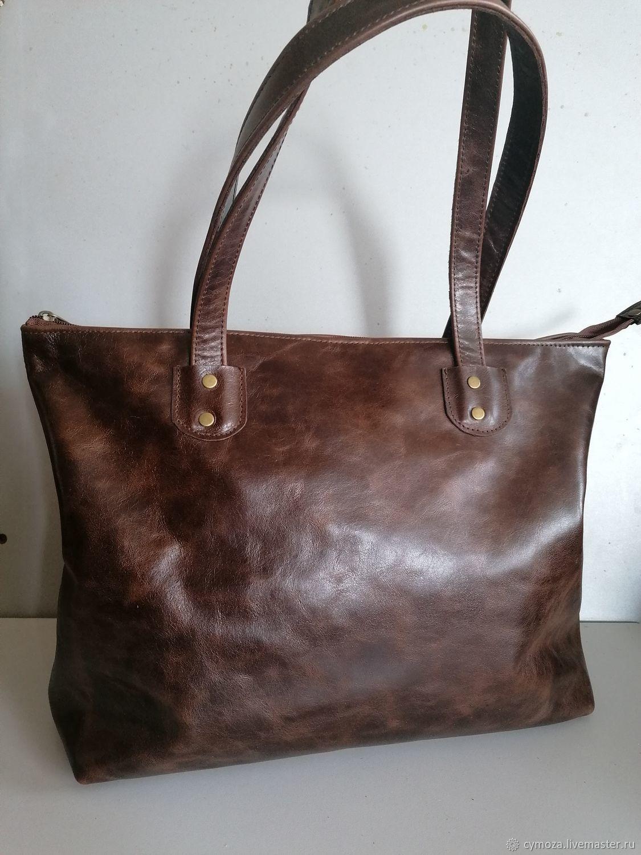 Bag Leather Women's Shopping Bag Brown Vintage, Sacks, Krasnodar,  Фото №1