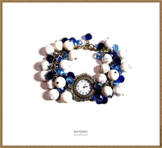 Наручные часы ручной работы с браслетом из натуральных камней: оригинальные, стильные, нежные часики.  Материалы не содержат свинец и никель. Камень - кахолонг.