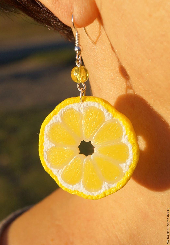 Earrings made of plastic: juicy lemon