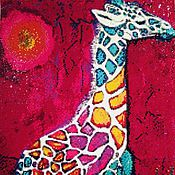 """Картины и панно ручной работы. Ярмарка Мастеров - ручная работа Алмазная живопись, вышивка стразами """"Жираф"""". Handmade."""