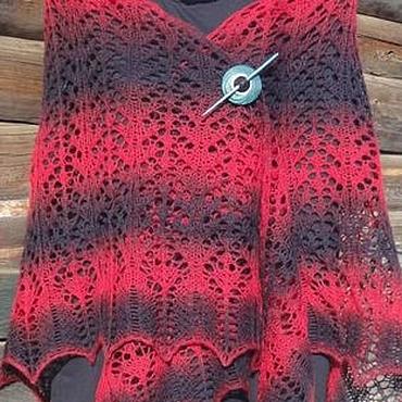 Аксессуары ручной работы. Ярмарка Мастеров - ручная работа Шаль Кармен вязаная спицами из 100% шерсти красная черная. Handmade.