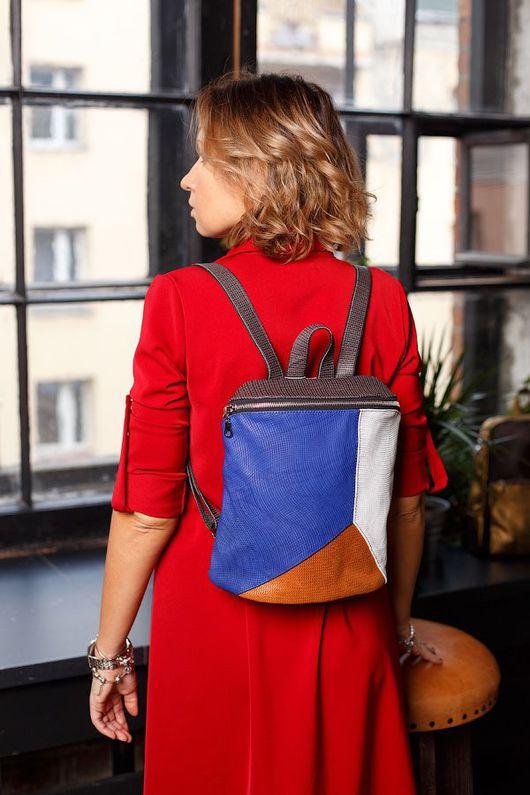 Рюкзаки ручной работы. Ярмарка Мастеров - ручная работа. Купить Рюкзак тройной сине/бело/золотой. Handmade. Синий цвет, белый рюкзак
