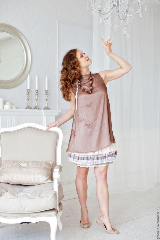 Платья ручной работы. Ярмарка Мастеров - ручная работа. Купить Платье коктейльное из шёлка. Handmade. Бежевый, для беременных, оборки, шёлк
