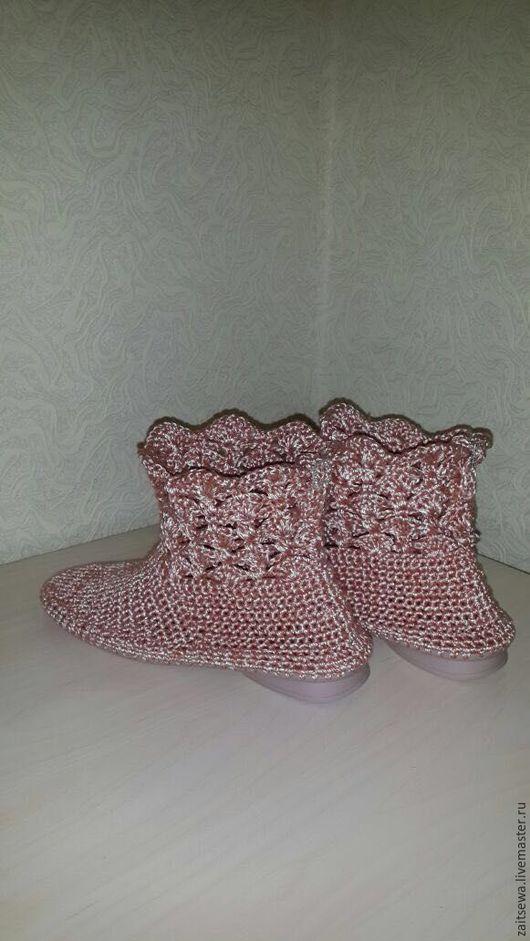 Обувь ручной работы. Ярмарка Мастеров - ручная работа. Купить Ботильоны. Handmade. Оранжевый, Вязание крючком, вискоза