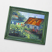 """Картины и панно ручной работы. Ярмарка Мастеров - ручная работа Картина маслом """"Домики в провансе"""" в рамке. Handmade."""