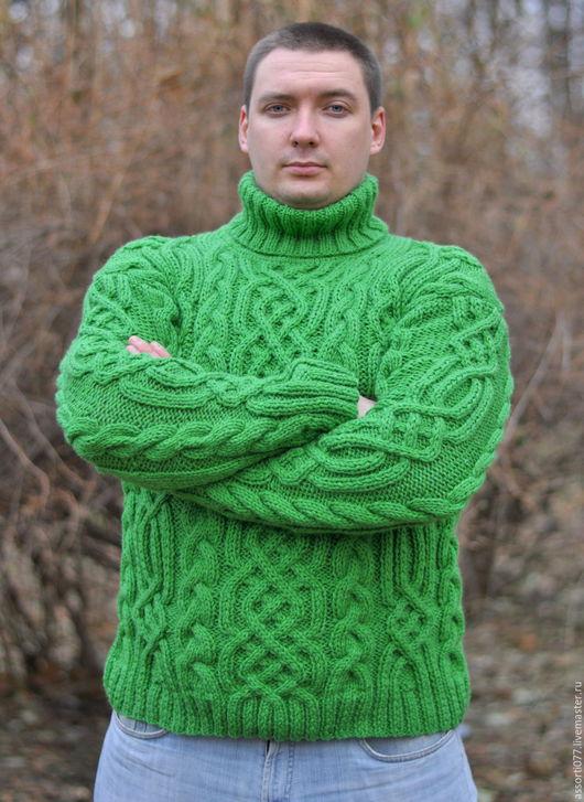 """Для мужчин, ручной работы. Ярмарка Мастеров - ручная работа. Купить Мужской свитер """"Викинг"""". Handmade. Зеленый, араны"""