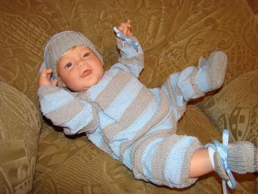 Одежда для кукол ручной работы. Ярмарка Мастеров - ручная работа. Купить Слоник в полоску. Handmade. Голубой