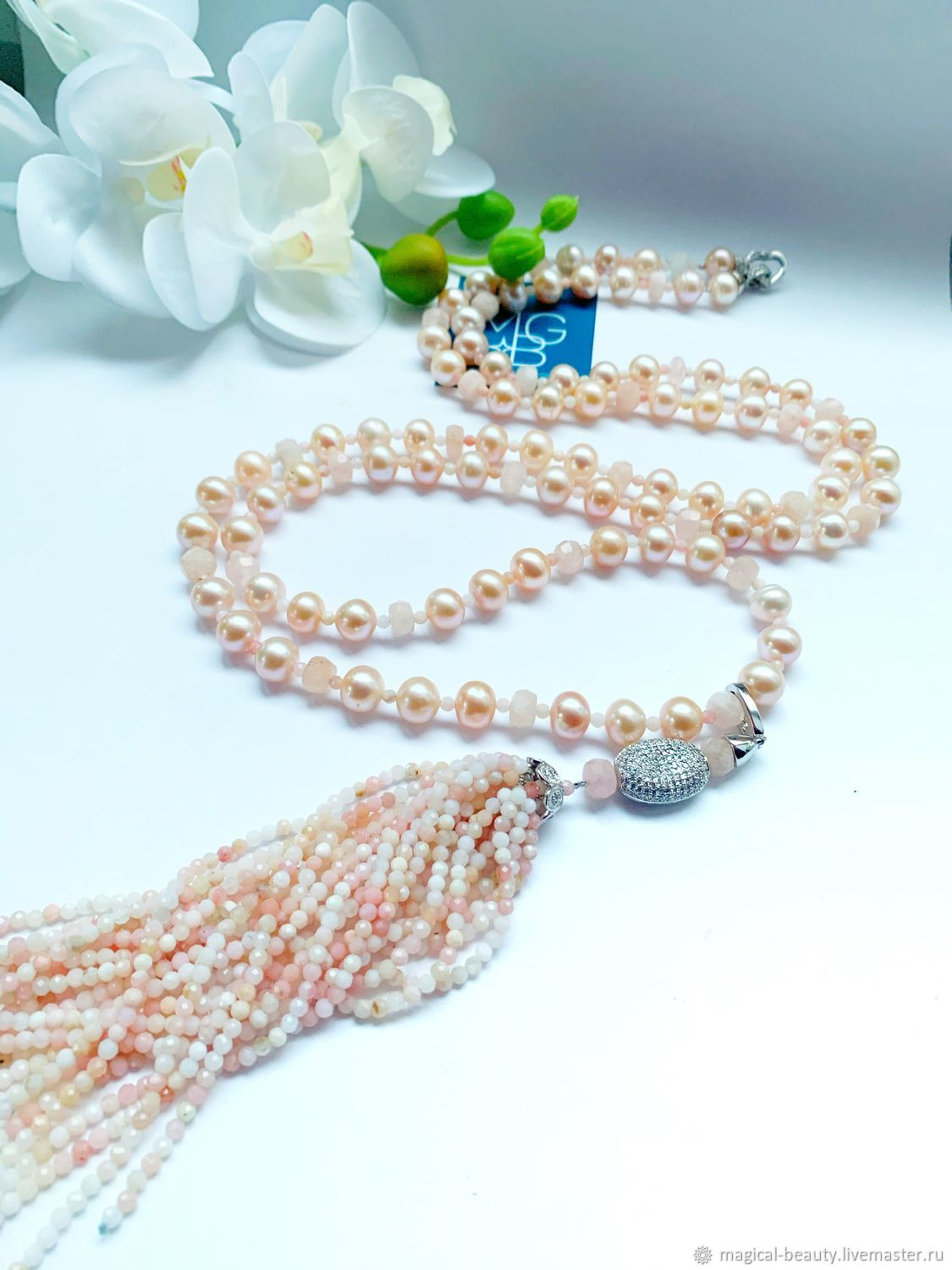 Sautoir of pink opal, pearls, morganite ' Camellia», Necklace, Moscow,  Фото №1
