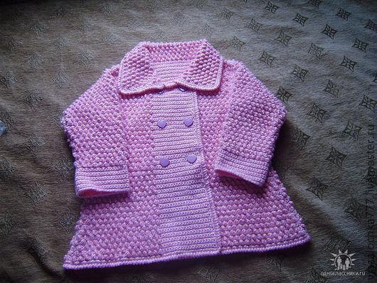 Одежда для девочек, ручной работы. Ярмарка Мастеров - ручная работа. Купить детское пальто крючком. Handmade. Розовое, пальто, для, девочки