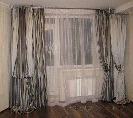 Текстиль, ковры ручной работы. Ярмарка Мастеров - ручная работа. Купить Комплект штор Мужская гостиная. Handmade. Серый
