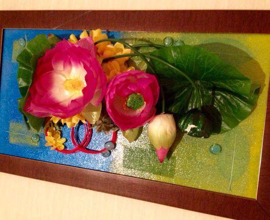 """Картины цветов ручной работы. Ярмарка Мастеров - ручная работа. Купить Картина """"Лотос"""".. Handmade. Зеленый, цветы, акриловые краски"""