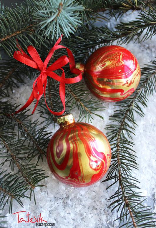 """Новый год 2017 ручной работы. Ярмарка Мастеров - ручная работа. Купить """"Нарядные красно золотые"""" Волшебный шары на елку. Handmade."""