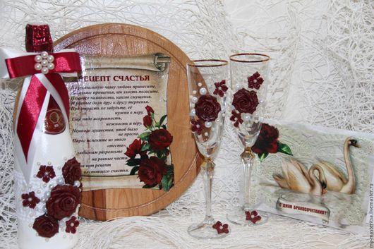 """Подарки на свадьбу ручной работы. Ярмарка Мастеров - ручная работа. Купить Набор свадебный """"Гармония"""". Handmade. Бордовый, коричневый цвет"""