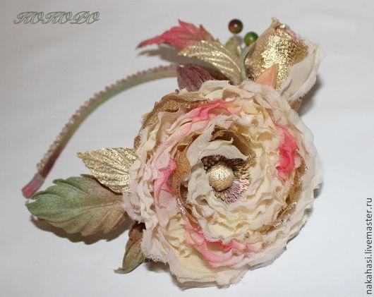 Диадемы, обручи ручной работы. Ярмарка Мастеров - ручная работа. Купить Украшение - ободок  «VICTORY» с розами.. Handmade. Бежевый