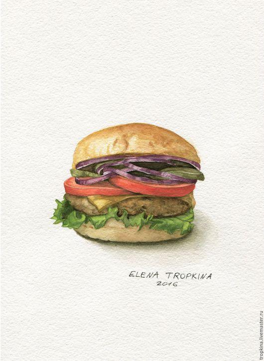 Натюрморт ручной работы. Ярмарка Мастеров - ручная работа. Купить Бургер. Handmade. Арт, акварель, тропкина, бургер, еда, рисунок
