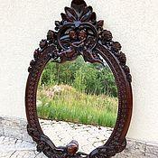 Зеркала ручной работы. Ярмарка Мастеров - ручная работа Резное зеркало из красного дерева Европа. Handmade.