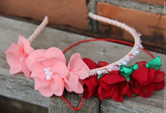 Детская бижутерия ручной работы. Ярмарка Мастеров - ручная работа. Купить Ободок с цветами и бусинами. Handmade. Бежевый, ободок с бусинами